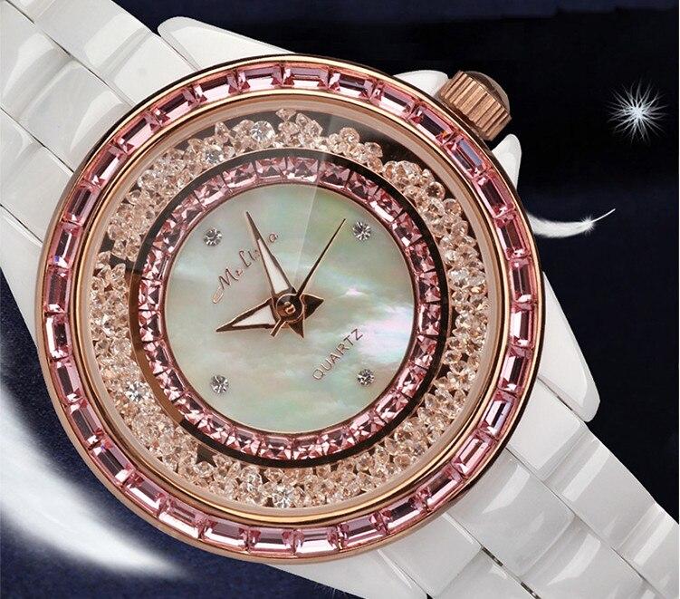 Brand MELISSA Elegant Ceramic Bracelet Watches Popular Moving Crystals Dress Wrist watch Japan Quartz Analog Reloj Relogio MG333 extravagant crystals women dress watches ceramic bracelet wrist watch japan quartz analog clock melissa relogio montre femme
