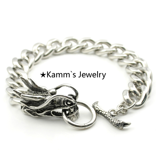 Dragon Silver 316L Stainless Steel Dragonfly new pulseira de couro pulsera mens jewellery women KB082