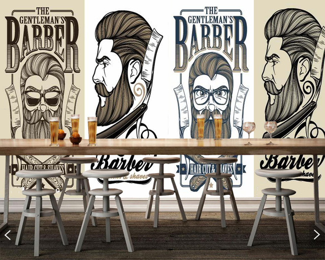 custom barber shop wallpapers trendy haircut elements mural for