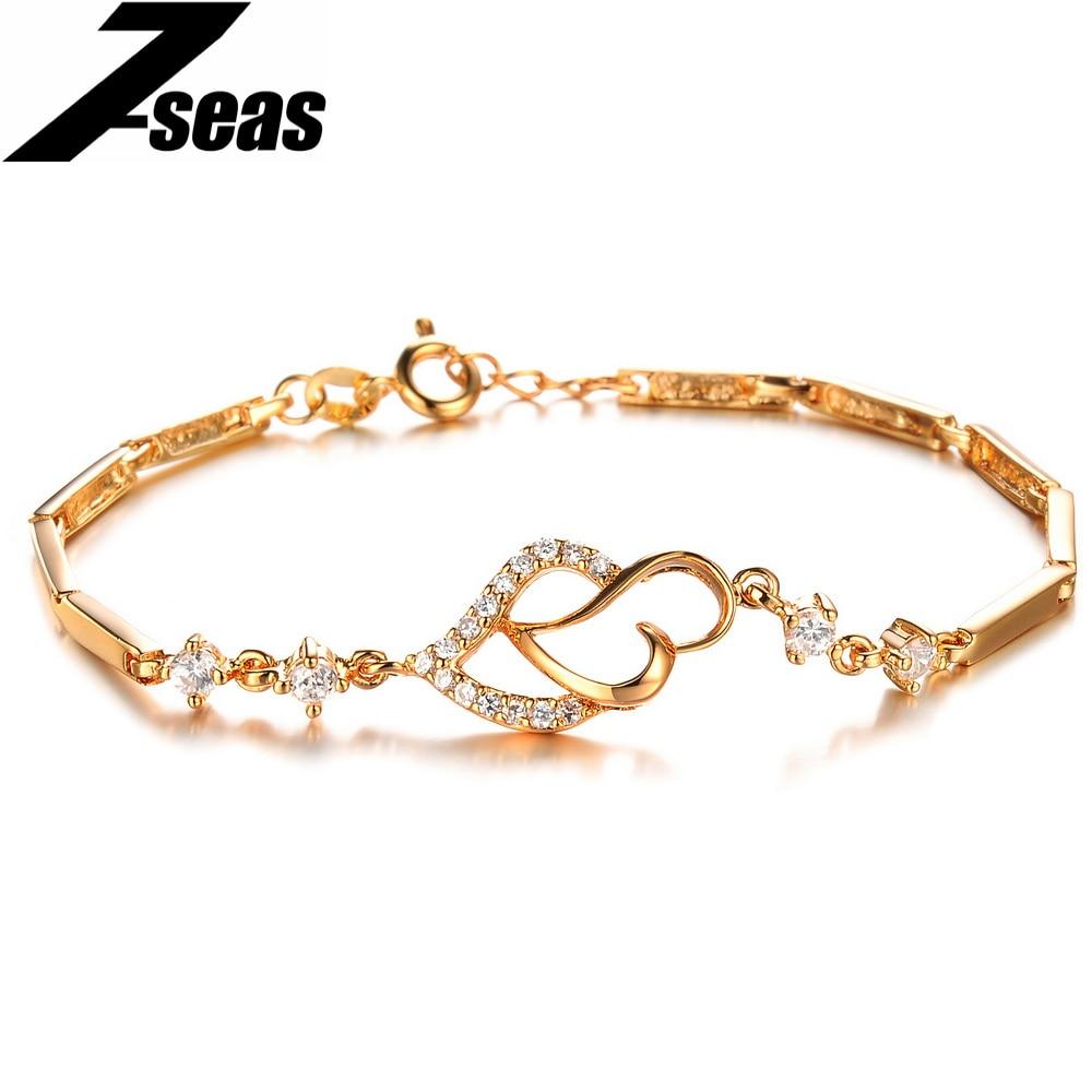 7SEAS Fashion Inlaid Cubic Zircon Heart Design Women Jewelry ...