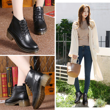 2019 new womens boots plus velvet warm Martin casual thick bottom increased fashion