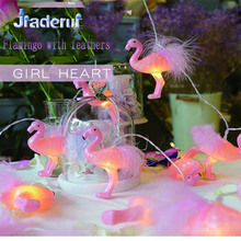 Jiaderui 2018 LED נובל נוצות פלמינגו גרלנד מחרוזת מנורה 2m 10 LED דקורטיבי גן חתונה מסיבת יום הולדת אור