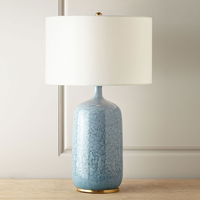 Classical Bedside Lamp Creative Blue Ceramic Living Room Table Lamp Vintage  Model Room Bed Lighting