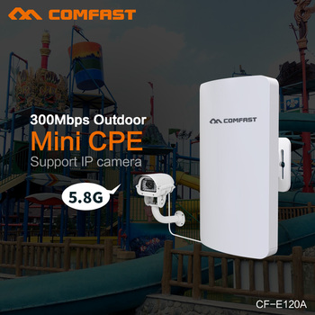 Comfast CF-E120A 300Mbps 5.8G Wireless Mini CPE WIFI Router 11dBi Antenna PoE Long Distance wifi repeater Outdoor IP cam bridge 3 5km long distance 300mbps outdoor wifi router cpe 2 14dbi wifi antenna high power 5ghz wifi repeater rj45 poe wireless bridge