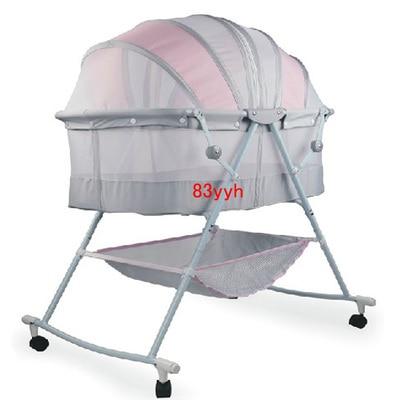 Portable Baby Crib Kids Sleeping Bags Pillow Newborn Baby Cradle Folding  Bed Manual Crib 0~18 Months Use U2013 Cybush