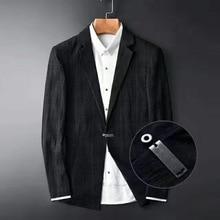 Minglu New Arrival Spring Fashion Black Dark Grain Grid Mens Blazer 100% Cotton Hight Quality Mens Suit Plus Size M   4XL