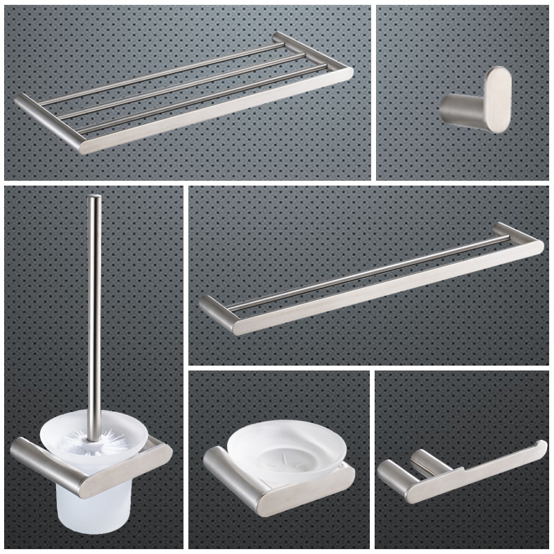 Silver 304 Stainless Steel Bath Hardware Hanger Set Package Fashion Simple Towel Rack Paper Holder Shelf Bathroom Accessories 5pcs 304 stainless steel capillary tube 3mm od 2mm id 250mm length silver for hardware accessories
