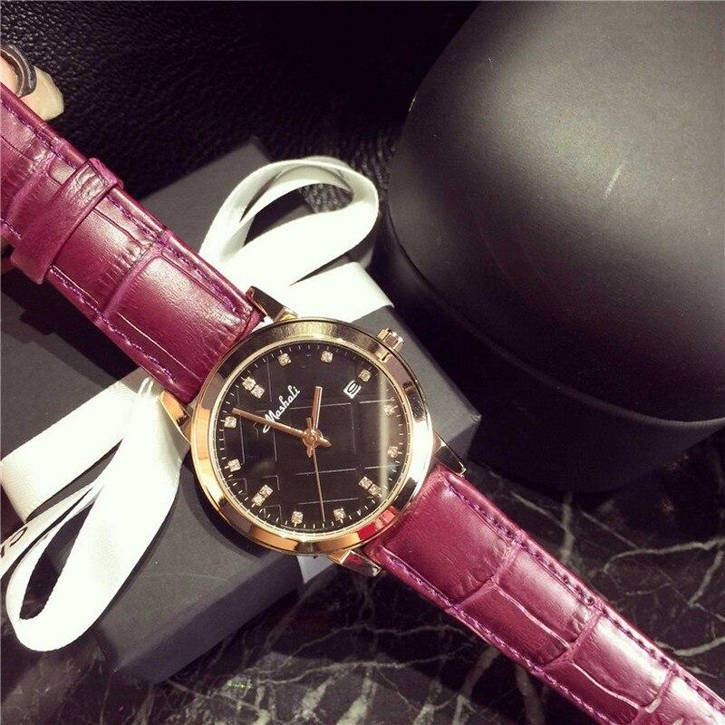 New Fashion Brand Genuine Leather Strap Women Dress Watches Quartz Watch Waterproof Clock Wristwatch relojes mujer 2017