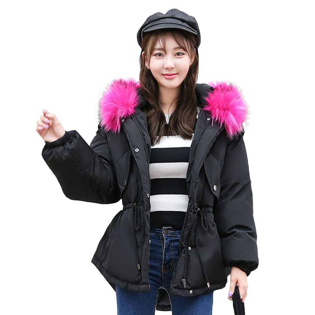 Winter Female Loose Big Size Jacket Fur Collar Short Hooded Jacket Padded Cotton Thick Outwear Coat Parkas 2017 new casual parkas long winter coat big fur collar hooded thick loose jacket cotton padded jackets female outwear plus sizes
