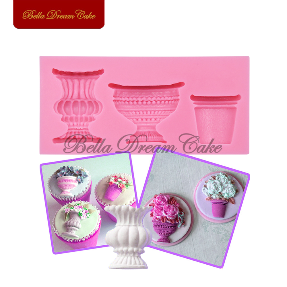 Pots & Urns Cake Mould Vase Fondant Mold Cake Decorating Mold Cake Decorative Mold Tool Soap Mould Silicone Baking Tools SM-370