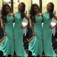 Simple Mint Green Bridesmaid Dresses Mix Style Backless Beaded Jewel Mermaid Long Gowns Elegant Cheap Party Dress