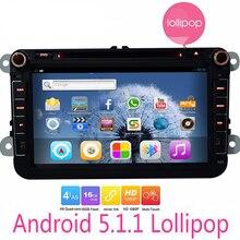"2 Din Android 5.1 Coches Reproductor de DVD de Navegación GPS para VW 8 ""Quad Core Coches Radio Stereo Audio Soporte OBD CANBUS Del Volante"