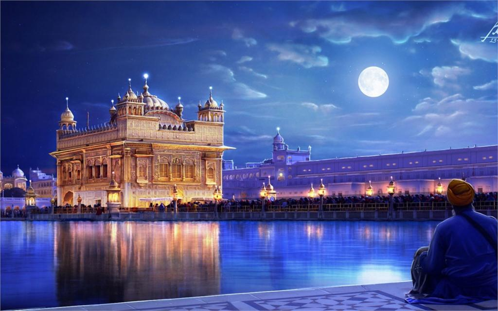 Living Room Home Wall Decoration Fabr Poster Painting Art Olden Temple Punjab India City River Night Lights Man People Moon