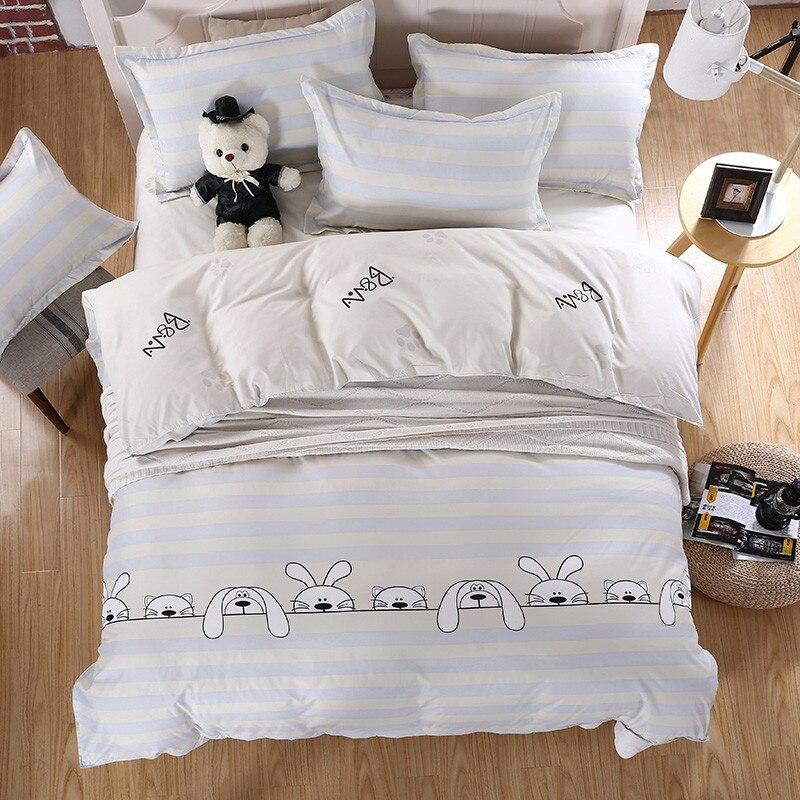 2017 Cartoon Design Cute Dog White Color Kids Cats 3/4pcs Bedding Sets Twin/Queen/King <font><b>Size</b></font> Quilt/Duvet/<font><b>Bed</b></font> Sets <font><b>Bed</b></font> Sheet