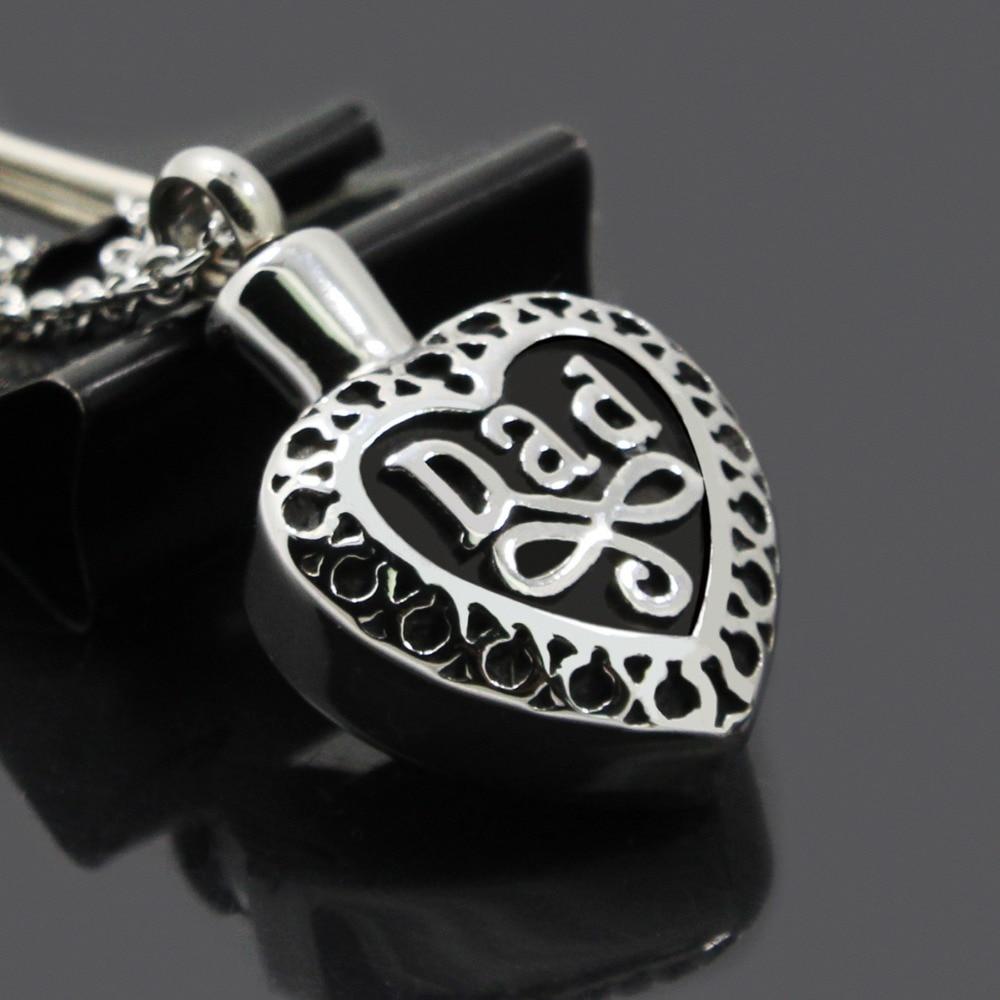 "Cylinder ""DAD"" Cremation Jewelry Keepsake Memorial Urn Necklace Ash Holder Free Shipping"