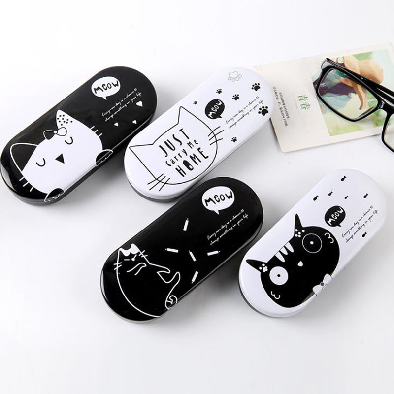 1 Pcs Cartoon Lovely Kawaii Black White Cat Pencil Case Iron Tin Metal Glasses Box Spectacle Case Students Stationery Gift