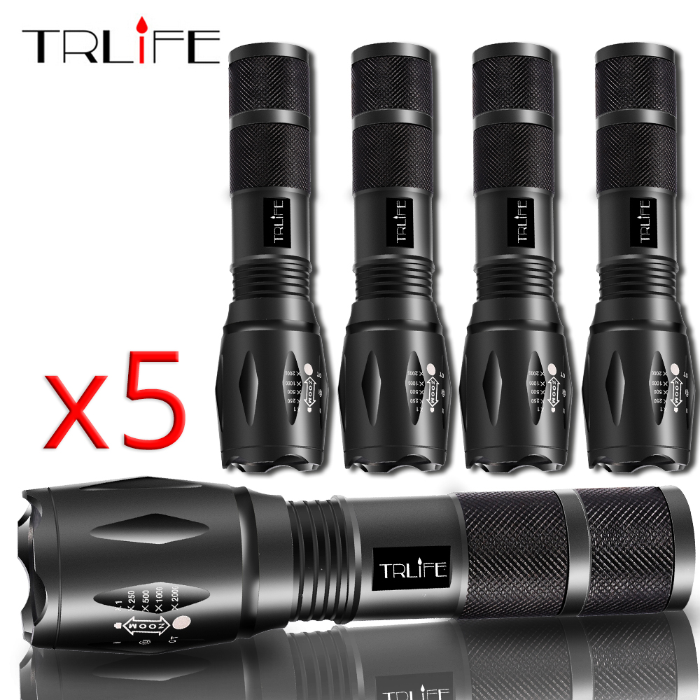 Tactical LED Flashlight 1/3/5PCS V6/L2/T6 Zoomable Torch Waterproof Bicycle Lamp 5 Modes By 1x18650 Or 3xAAA Battery