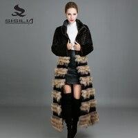 Sisilia 2017 реального норки Мех животных Пальто для будущих мам Модные женские длинные куртки с теплой енот кожи экстравагантные съемные норки