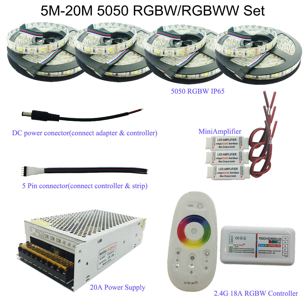5050 RGBW RGBWW LED Strip Set With 2 4G Touch RF Remote Controller 12V Power Supply