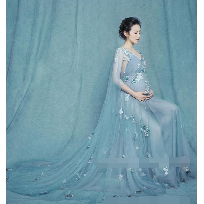 Doccia Fotografico In Moda Nuove Donne Oggetti Gravidanza Trailing Lungo Abito Maternità 2017 Romantica Elegante Photography Scena Fata Vestito Di POkiuZXTlw