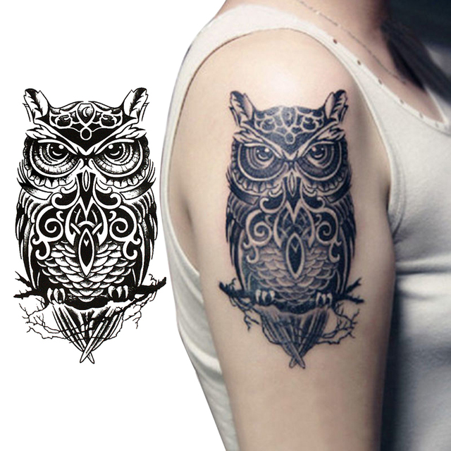 19x12cm Cool Black Owl Shaped Waterproof Temporary Tattoos Sticker For Women Men Tattoo Sleeve Sexy Tatto Body Art Accessories