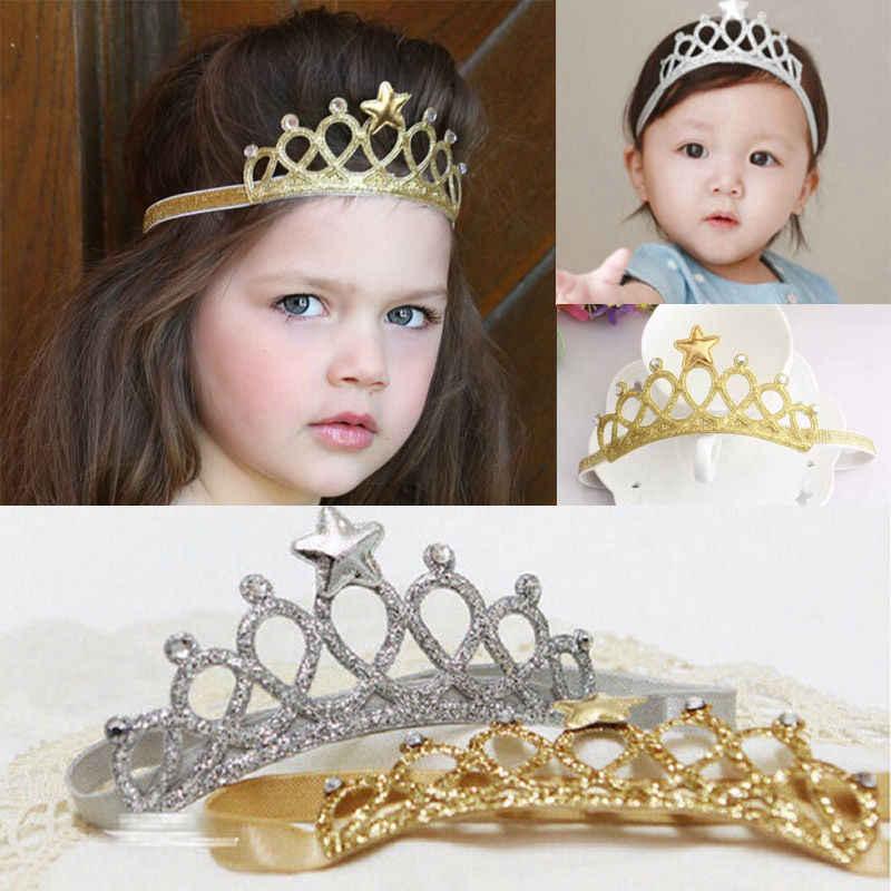 Новорожденный младенец мальчик корона для девочек головная повязка со звездами день рождения волос Группа аксессуары