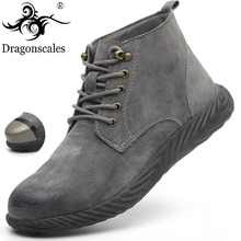 2019 Men Indestructible Safety Work Boots High quality split Leather Martin Ankle Boots High Top Fashion Popular Steel Toe Boots
