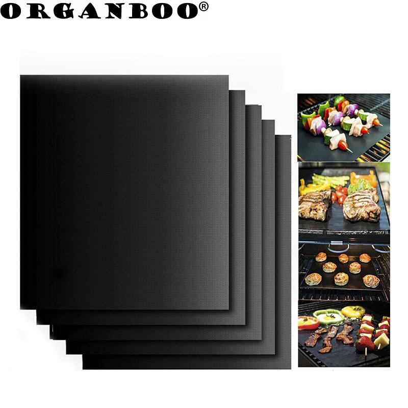 ORGANBOO 2pcs/Set Portable Easy Clean Nonstick BBQ Grill Mat Reusable Pad Sheet Hot Plate Bakeware Cooking Tool BBQ Accessories Гриль