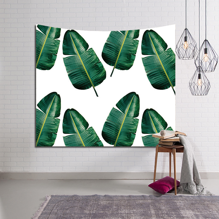 Printed Polyester Green Tree Leave Tapestry Wall Decor Art Multi Size Hanging Bedding For Beach Throw Blanket Home Decoration