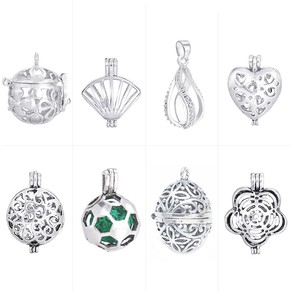 DIY Glass Pearl Cage Locket Pendant Antique Vintage Aromatherapy Essential Oil Diffuser Necklace Locket For Jewelry Ball in Pendants from Jewelry Accessories