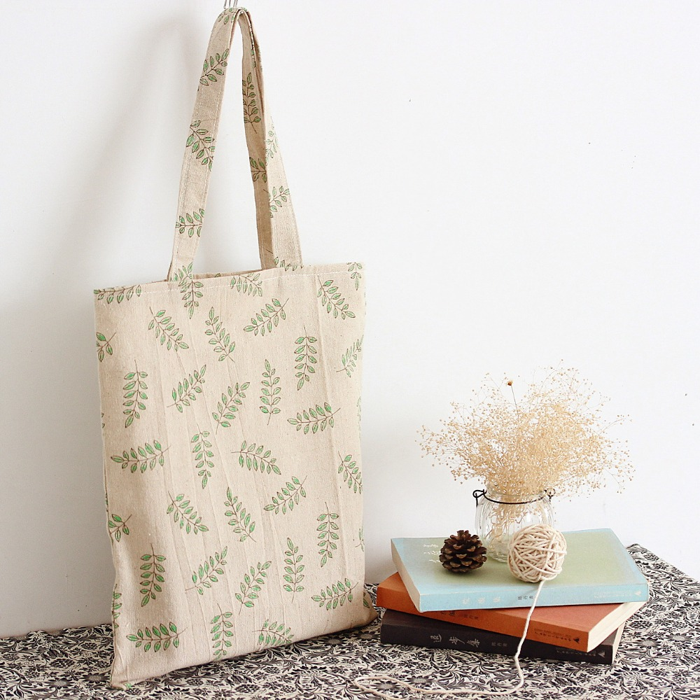 YILE Updated Cotton Linen Shopping Tote Shoulder Carrying Bag Eco Reusable Bag Print  Green Olive Branch  L017