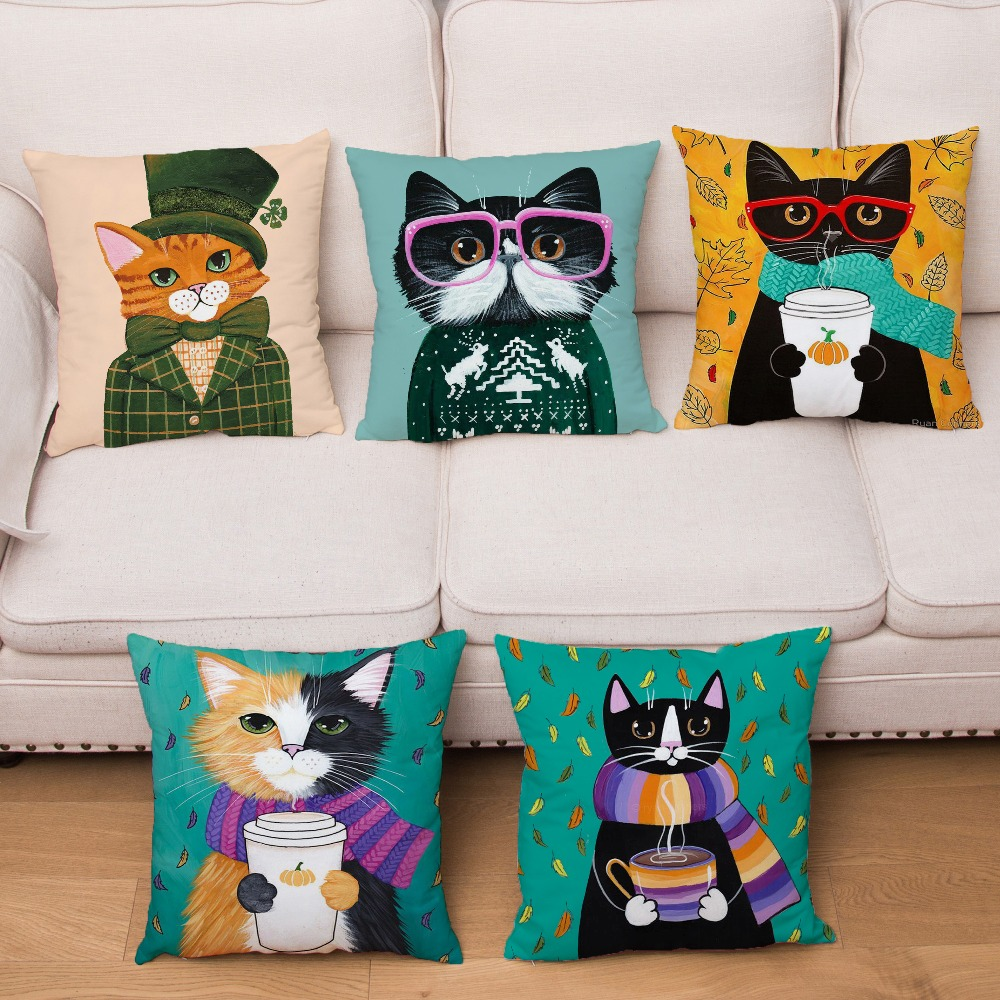 Ryan Conners Cute Cartoon Cats Cushion Cover Super Soft Short Plush Pillow Covers Throw Pillows Cases Sofa Home Decor Pillowcase