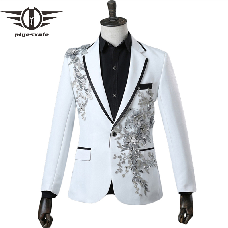 Plyesxale Mens Sequin Crystal Embroidery Blazers Black Red Royal Blue White Blazer Men Nightclub Stage Party Prom Blazers Q291