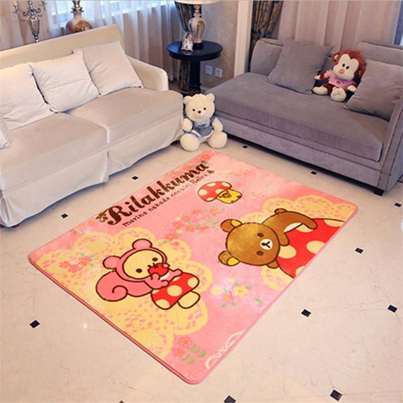 130x185cm Mushroom Bear Area Rug For Children Bedroom Velvet Carpets For Living Room Coffee Table Floor