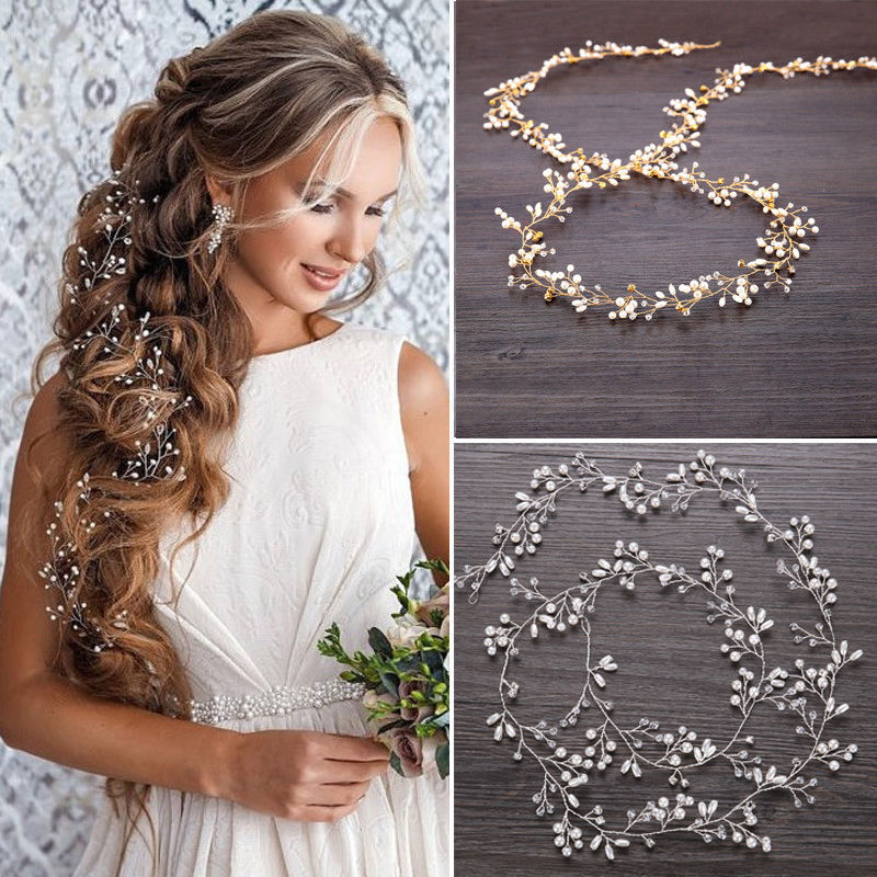 Long Wedding Hair Vine Crystal Pearl Headband Bridal Accessories Gold Silver