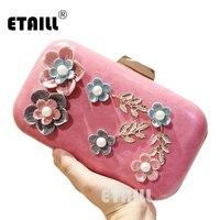 ETAILL 여성의 핸드백 2017 꽃 다이아몬드 하루 클러치 패션 체인 한 어깨 메신