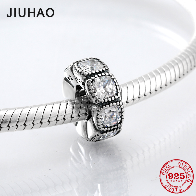 Fashion 925 Sterling Silver Rounded square spacer beads with clear zirconia Fit Original Pandora Charms Bracelet Jewelry Making