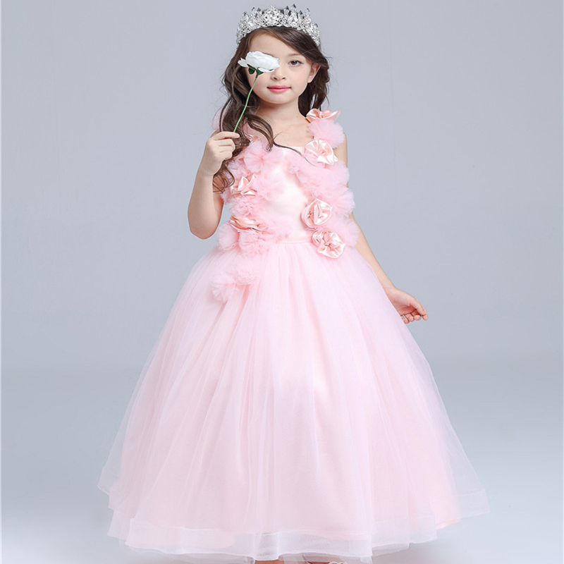 Fresh Pink Long Pricess Lovely Ball Gown Sleeveless Satin Bowknot Decor O-neck Flowers Show/Performance/Wedding Formal Dress