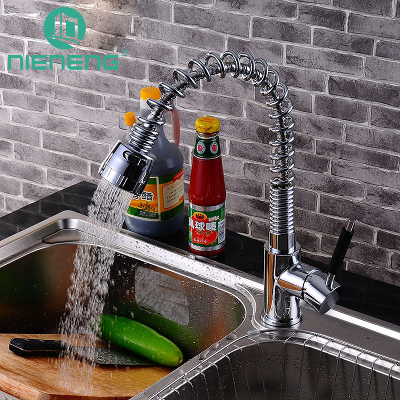 Nieneng Frap Spring Fixed Swivel Spout Single Handle Tap Pull out Spray Sink Chrome Pull Down Kitchen Faucets ICD60418 good quality wholesale and retail chrome finished pull out spring kitchen faucet swivel spout vessel sink mixer tap lk 9907