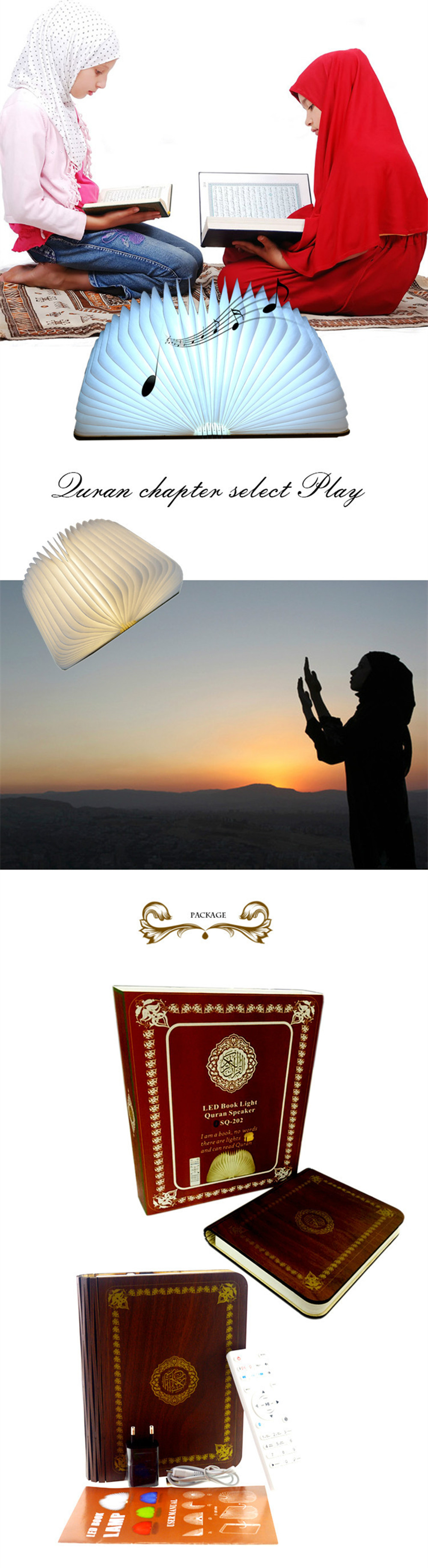 Colorful LED Book Lamp Quran Speaker Wireless Remote Control Night Light USB Rechargeable Lighting Learning Speaker for Muslim (11)