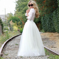 Custom Made fashion style Princess Long TUTU Tulle Skirt Top Quality Best Skirt beautiful Party Skirt