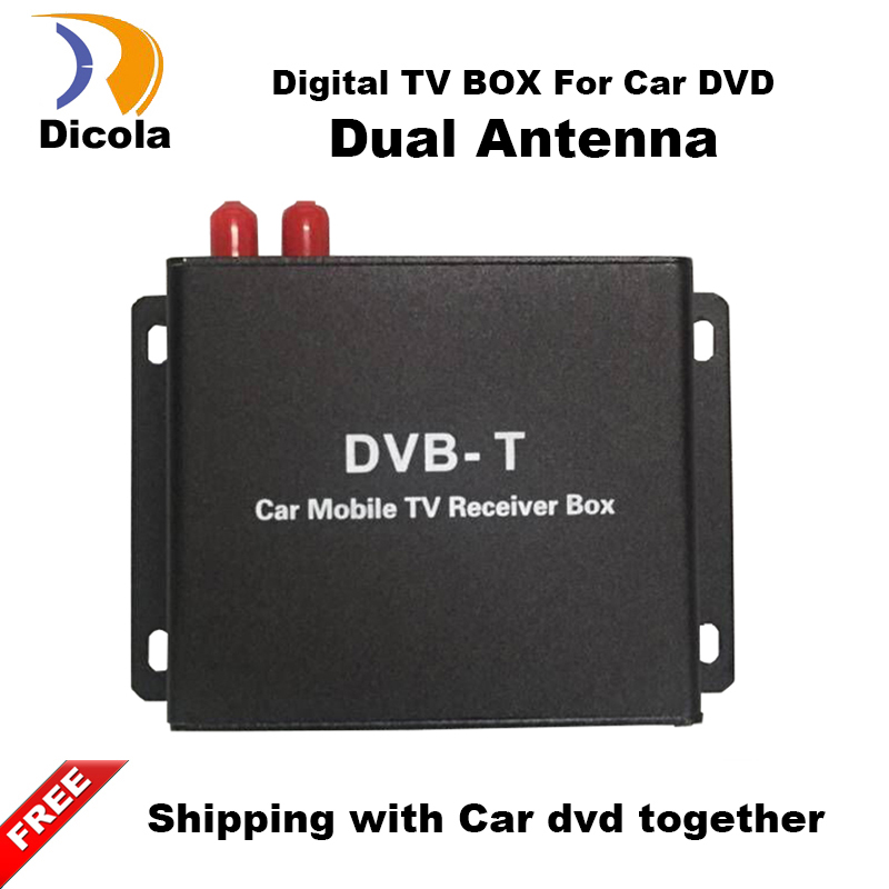 Car DVB-T TV Box TV Receiver Dual Tuner High Speed Mpeg4 Car Digital TV Tuner For Car DVD Auto Mobile DVB-T Receiver Kit isudar digital tv receiver for car tv tuner isdb t 2 way video out put for japan brazil south america free shipping