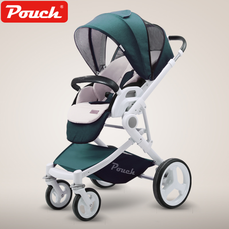 Pouch High Landscape Visiable Umbrella Baby Stroller Two Way Baby Carriage 3 In 1 Portable Lightweight Four Wheels Baby Pram pouch four wheels travel baby stroller high landscape portable can sit lie lightweight summer folding baby carriage pram 0 3 y