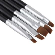 5Pieces Set Nail Art Acrylic UV Gel Salon Pens Flat Brushes Kit Nail Art Brush Tools