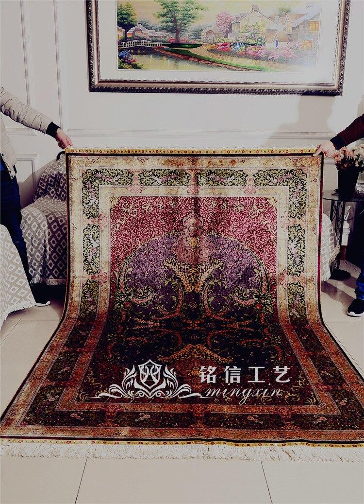 5'x7. 5' tapis de soie persan fait main rouge tapis de zone de tissage à la main - 6