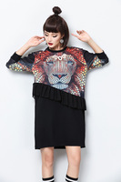 Women S Autumn Fashion Cartoon Leopard Printed Dress Novelty Ruffle Spliced Short Dress Black Long Sleeve
