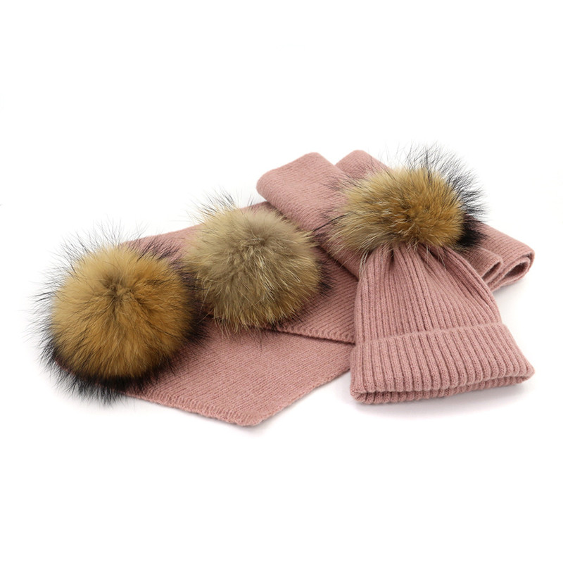 Children Real Fur Pompoms Winter Hat Scarf Sets Girls Boys Warm Knitted Cap Scarf Set 2 Pieces/Set Baby Kids Casual Hats Scarves
