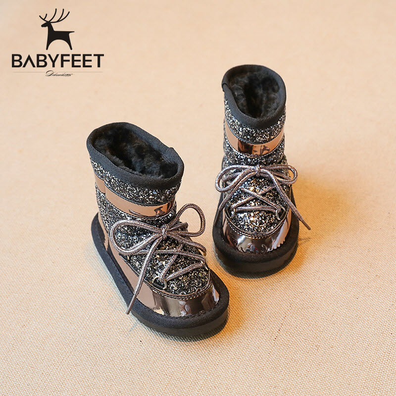 babyfeet 2017 Winter fashion Warm Plush high top student sport school sneaker children ankle girl snow boots kids shoes sneakers babyfeet 2017 winter children shoes fashion warm suede leather sport running school tenis girl infant boys sneakers flat loafers