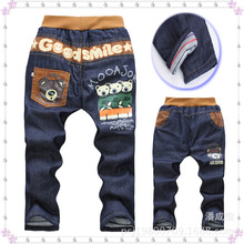 Boy denims NEAT alphabet animal sample little one pants elastic band zipper straight trousers boy pants Four-7Y 15A003
