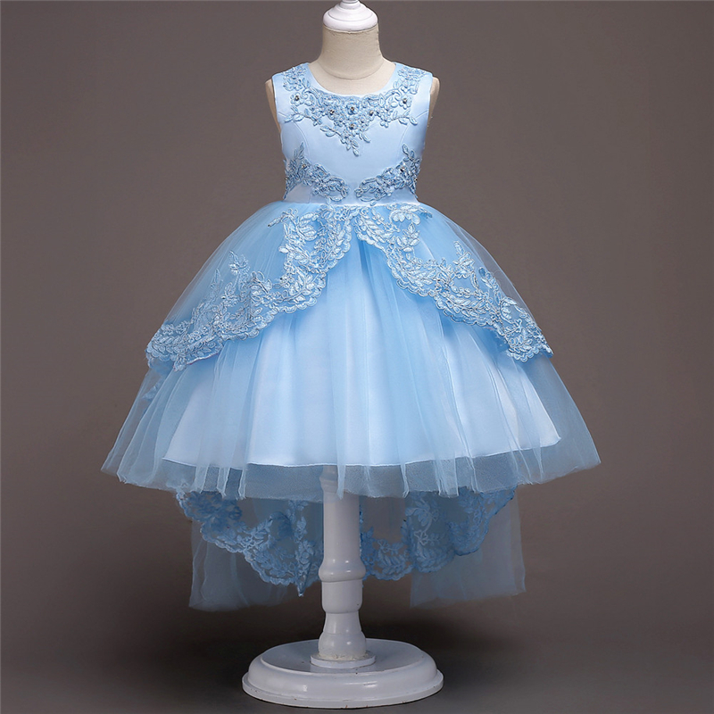 Beauty Girls Dresses for Party Wedding Trailing White Red Brand Girl Princess Costume Formal Teenagers Girl Ceremony Prom Dress prom dresses dresses for teenagers maxys wedding dress girl white satin summer dress girls size 12 party embroidery clothes